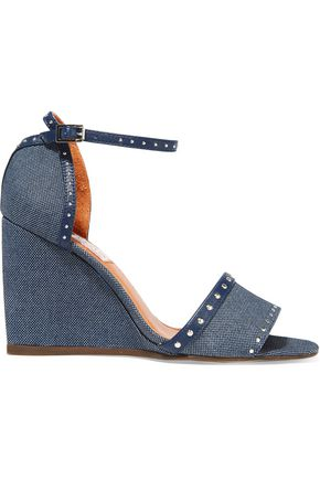 LANVIN Studded leather-trimmed denim wedge sandals