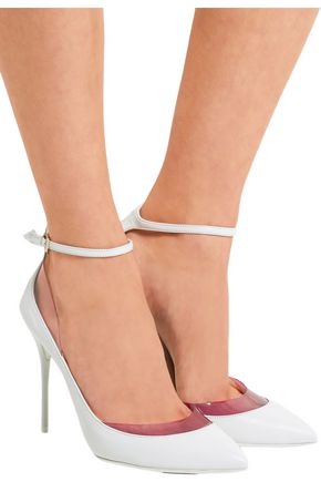 JIMMY CHOO LONDON Luc PVC-trimmed leather pumps