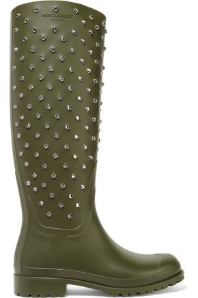 SAINT LAURENT Festival crystal-embellished rubber rain boots