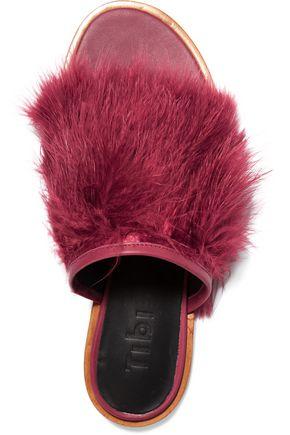 TIBI Jack feather-embellished leather slides