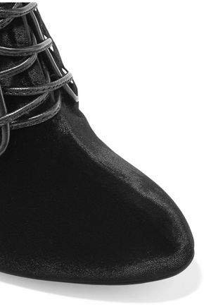 AQUAZZURA Elena leather-trimmed velvet ankle boots