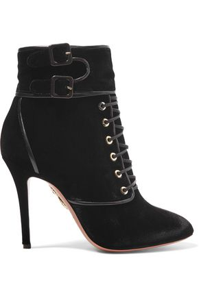 AQUAZZURA Elena leather-trimmed velvet ankle boots
