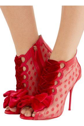 SOPHIA WEBSTER Mitsy velvet-trimmed polka-dot tulle and leather boots