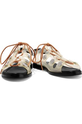 ALEXANDER WANG Patricia lace-up PVC and leather sandals