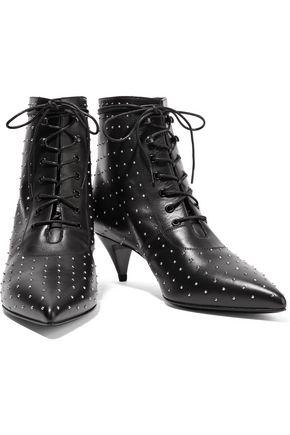 SAINT LAURENT Studded leather ankle boots