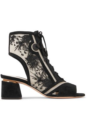 NICHOLAS KIRKWOOD Phoenix cutout embroidered mesh and suede sandals