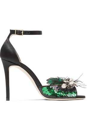 JIMMY CHOO Annie 100 sequin and feather-embellished satin sandals
