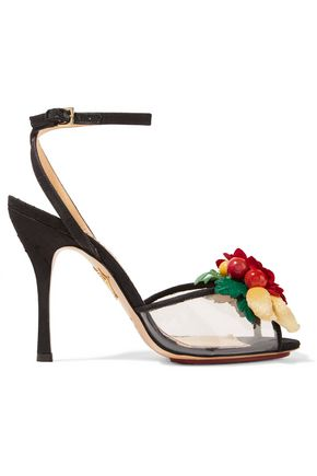 CHARLOTTE OLYMPIA Embellished canvas and PVC sandals
