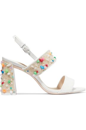 SOPHIA WEBSTER Clarice embellished patent-leather slingback sandals
