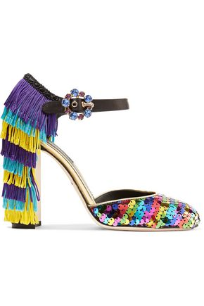 DOLCE & GABBANA Fringed embellished leather pumps