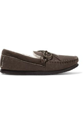 ISABEL MARANT Enza leather-trimmed shearling-lined nubuck moccasins