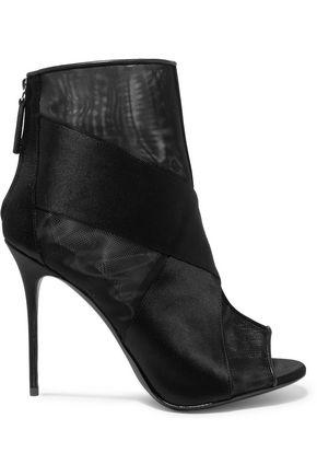 GIUSEPPE ZANOTTI Nubuck and mesh peep-toe ankle boots