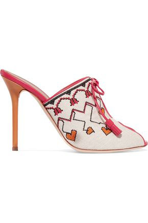 MALONE SOULIERS + Natalia Vodianova bow-detailed woven linen and leather mules