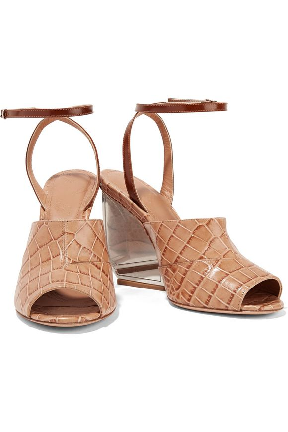 Croc-effect leather sandals | MAISON MARGIELA | Sale up to 70% off | THE  OUTNET