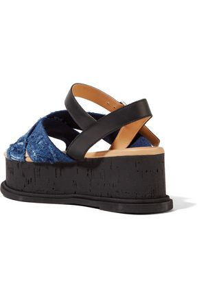 MM6 by MAISON MARGIELA Distressed denim and leather sandals