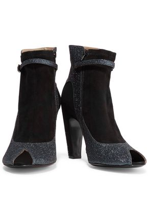 MAISON MARGIELA Glittered leather-trimmed suede ankle boots