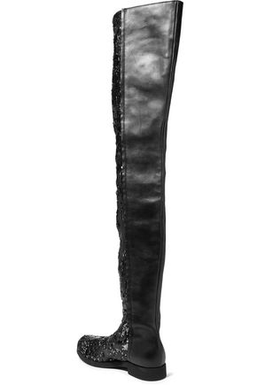 5fa04ef3760 ... MM6 MAISON MARGIELA Sequined neoprene and leather over-the-knee boots