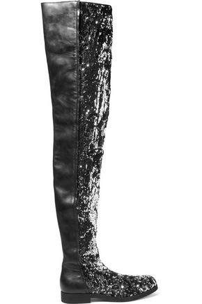 MM6 MAISON MARGIELA Sequined neoprene and leather over-the-knee boots
