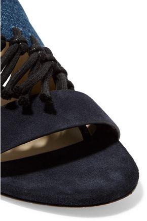 3.1 PHILLIP LIM Kiddie fringed denim and  suede sandals