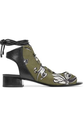 3.1 PHILLIP LIM Drum lace-up leather and printed neoprene sandals