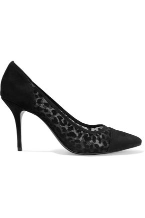 SANDRO Flocked suede pumps