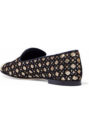 GIUSEPPE ZANOTTI Embroidered glittered leather loafers