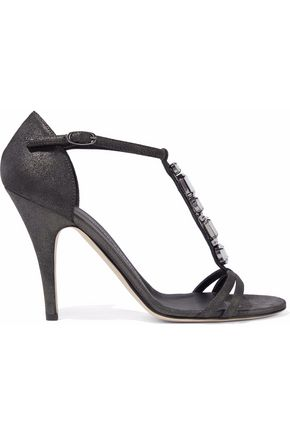 GIUSEPPE ZANOTTI DESIGN Crystal-embellished metallic nubuck sandals