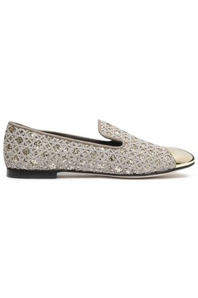 GIUSEPPE ZANOTTI DESIGN Glittered embroidered flats