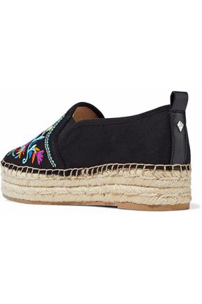SAM EDELMAN Embroidered twill platform espadrilles