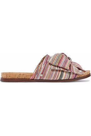 SAM EDELMAN Bow-embellished woven slides