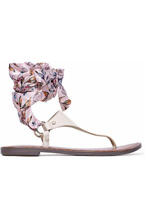 SAM EDELMAN Printed satin-trimmed lace-up leather sandals