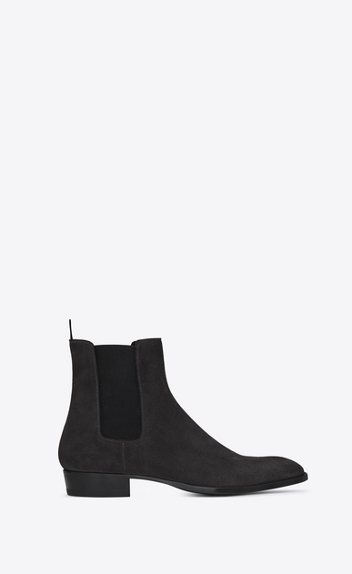 SAINT LAURENT Boots Man WYATT 30 Chelsea ankle boots in asphalt suede a_V4
