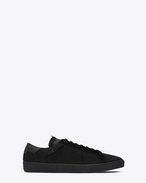 SAINT LAURENT SL/06 U COURT CLASSIC SL/06 sneakers embroidered with SAINT LAURENT, in fabric and black worn-look leather f