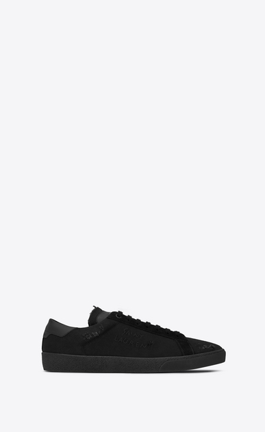 SAINT LAURENT SL/06 U COURT CLASSIC SL/06 sneakers embroidered with SAINT LAURENT, in fabric and black worn-look leather a_V4