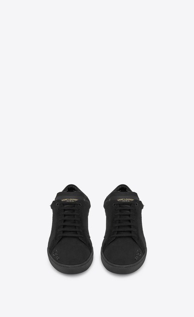 SAINT LAURENT SL/06 U COURT CLASSIC SL/06 sneakers embroidered with SAINT LAURENT, in fabric and black worn-look leather b_V4