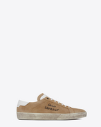 SAINT LAURENT SL/06 U COURT CLASSIC SL/06 sneakers embroidered with SAINT LAURENT, in sand-colored suede and white leather. f