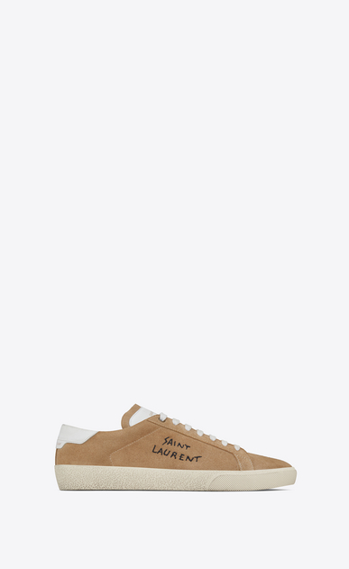 SAINT LAURENT SL/06 U COURT CLASSIC SL/06 sneakers embroidered with SAINT LAURENT, in sand-colored suede and white leather. a_V4