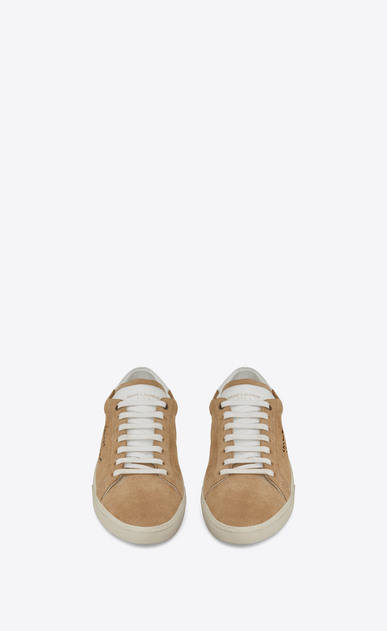 SAINT LAURENT SL/06 U COURT CLASSIC SL/06 sneakers embroidered with SAINT LAURENT, in sand-colored suede and white leather. b_V4