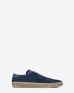 SAINT LAURENT SL/06 U COURT CLASSIC SL/06 sneakers embroidered with SAINT LAURENT, in suede and denim blue leather. f