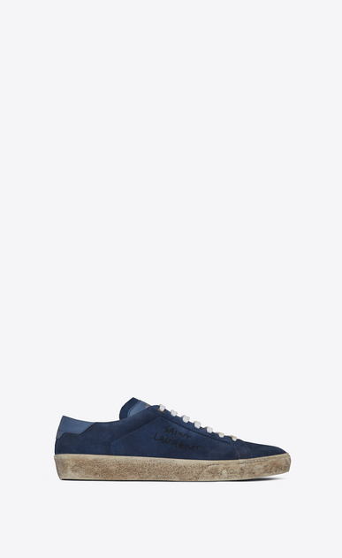 SAINT LAURENT SL/06 U COURT CLASSIC SL/06 sneakers embroidered with SAINT LAURENT, in suede and denim blue leather. a_V4