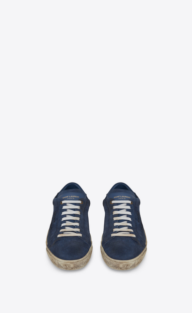 SAINT LAURENT SL/06 U COURT CLASSIC SL/06 sneakers embroidered with SAINT LAURENT, in suede and denim blue leather. b_V4