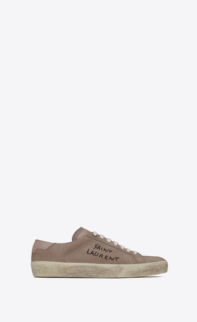 SAINT LAURENT SL/06 U COURT CLASSIC SL/06 sneakers embroidered with SAINT LAURENT, in suede and antique pink leather. a_V4
