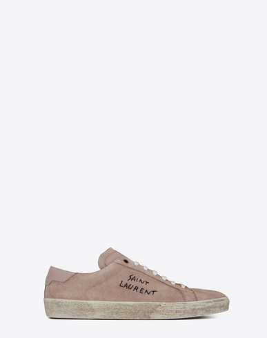 SAINT LAURENT Sl/06 Court Classic Leather-Trimmed Embroidered Suede Sneakers, Rose Antic