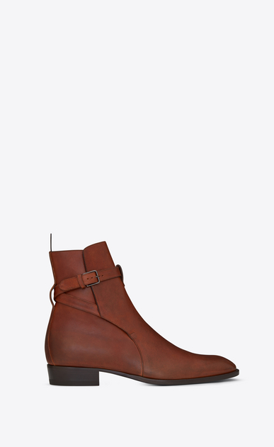 SAINT LAURENT Boots Man WYATT 30 jodhpur boot in caramel leather a_V4