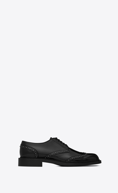 SAINT LAURENT Classic Shoes Man Studded ARMY 25 derby in black leather a_V4