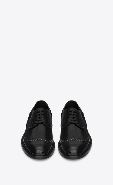 SAINT LAURENT Classic Shoes U Studded ARMY 25 derby in black leather b_V4