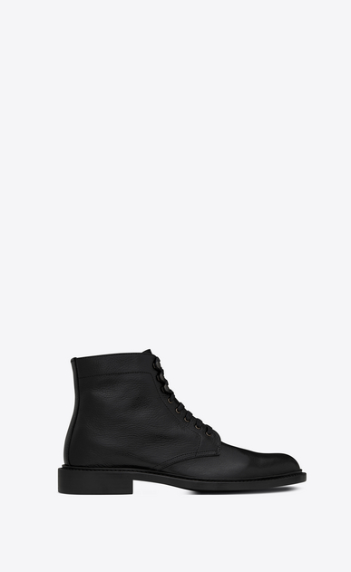 SAINT LAURENT Boots U Army 25 boot in black grained leather a_V4