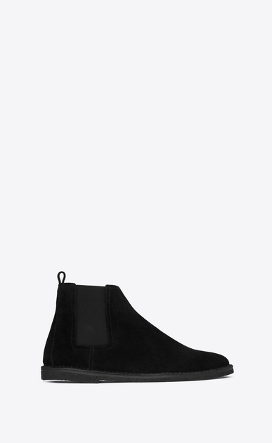 SAINT LAURENT Boots Man ORAN 25 Chelsea ankle boot in black suede a_V4