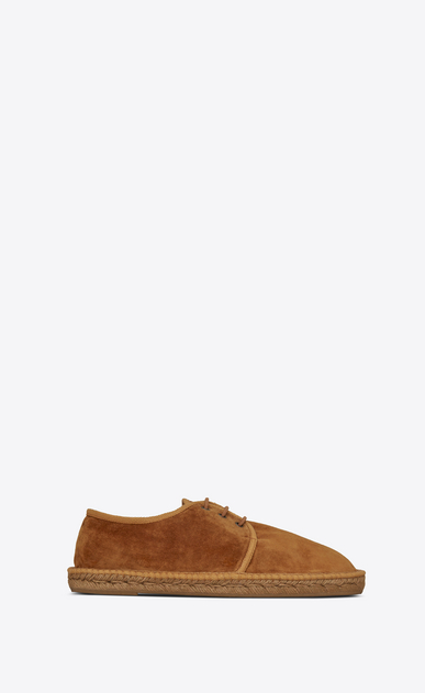 SAINT LAURENT Casual Shoes U Laced espadrille in mustard suede a_V4