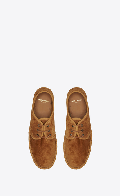 SAINT LAURENT Casual Shoes U Laced espadrille in mustard suede b_V4